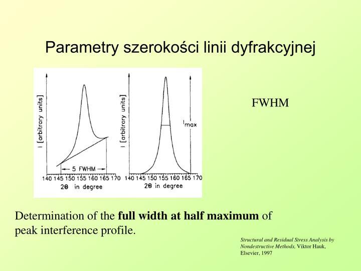 Parametry szerokości linii dyfrakcyjnej