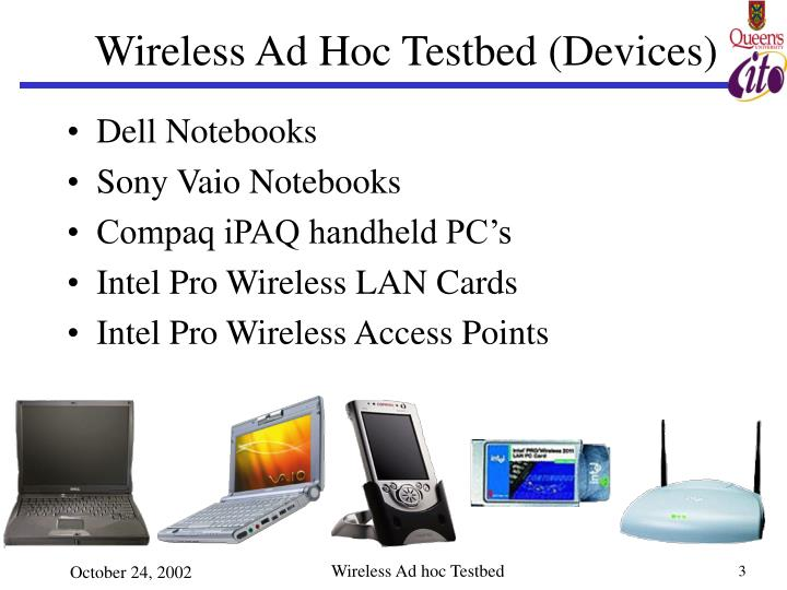 Wireless ad hoc testbed devices