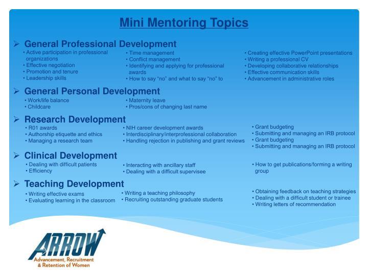 Mini Mentoring Topics
