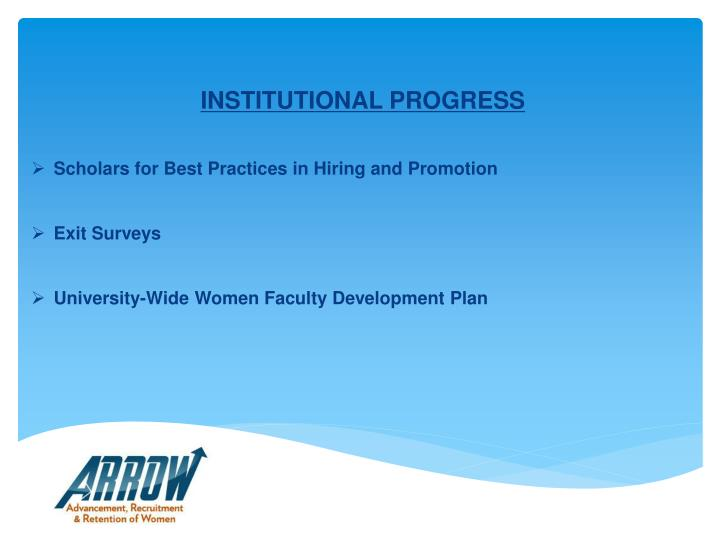 INSTITUTIONAL PROGRESS