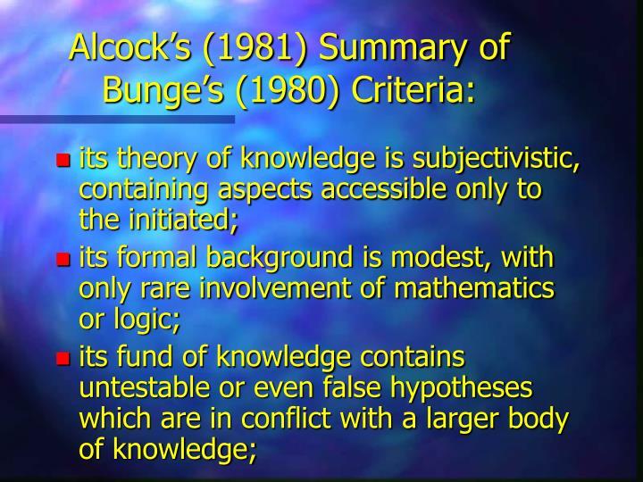 Alcock's (1981) Summary of Bunge's (1980) Criteria: