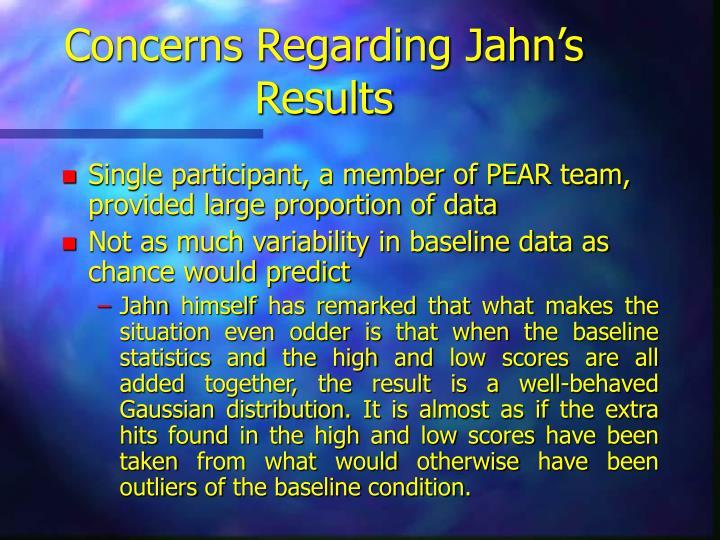 Concerns Regarding Jahn's Results