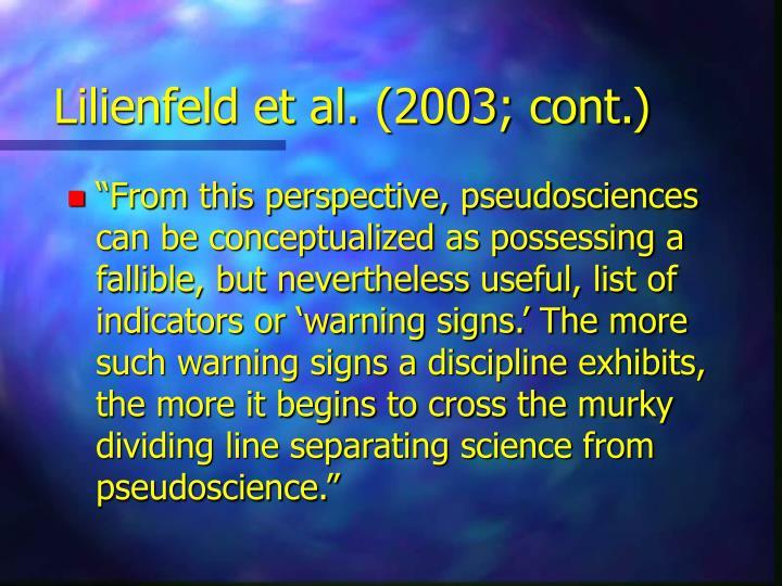 Lilienfeld et al. (2003; cont.)