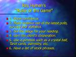 ray hyman s rules of the game