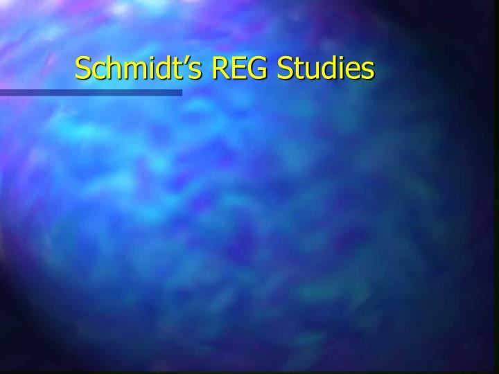 Schmidt's REG Studies