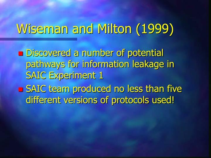 Wiseman and Milton (1999)