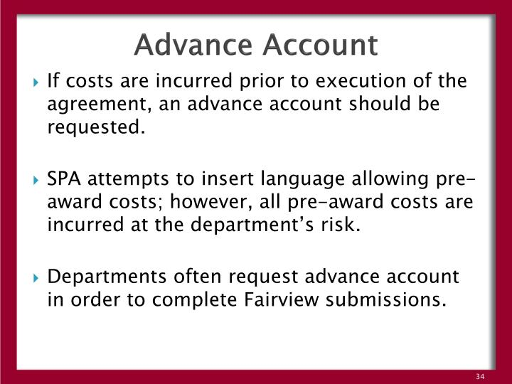 Advance Account