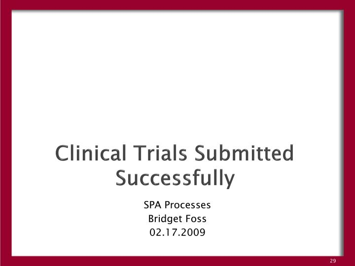 Clinical Trials Submitted Successfully