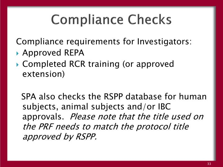 Compliance Checks