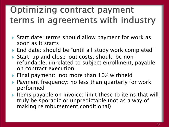 Optimizing contract payment terms in agreements with industry