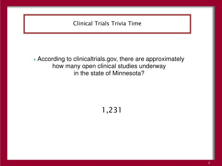 Clinical Trials Trivia Time