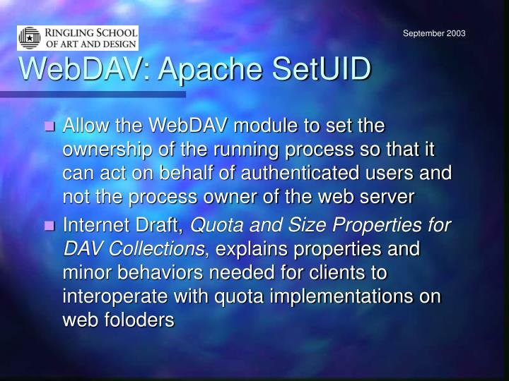 WebDAV: Apache SetUID