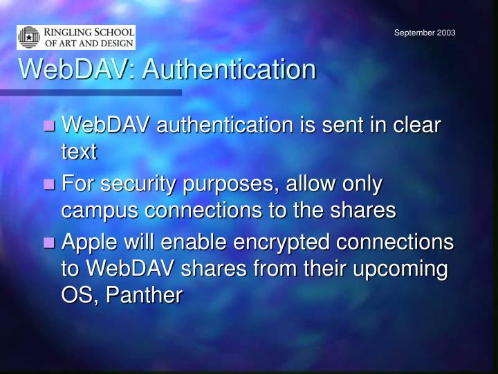 WebDAV: Authentication