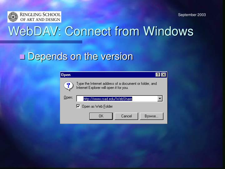 WebDAV: Connect from Windows