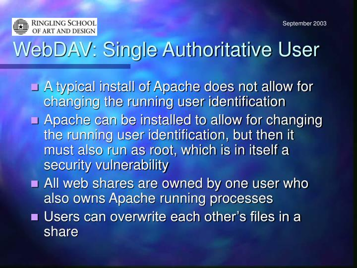 WebDAV: Single Authoritative User