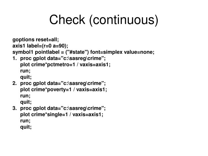 Check (continuous)