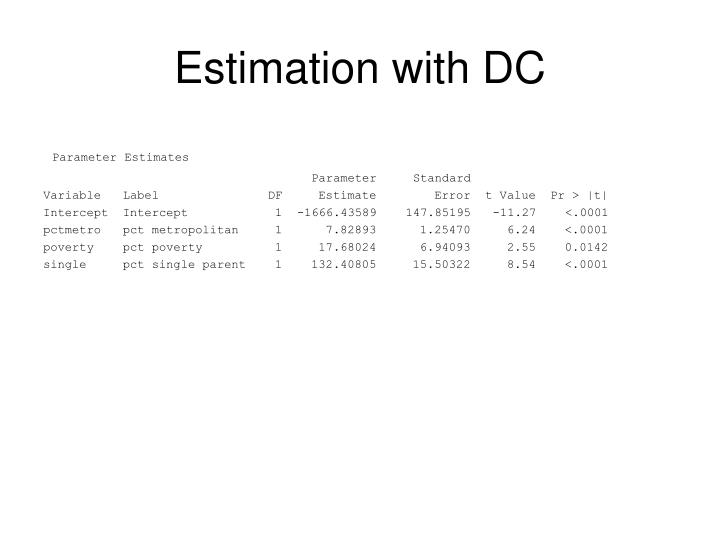 Estimation with DC