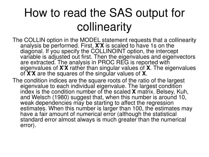 How to read the SAS output for