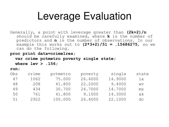 Leverage Evaluation