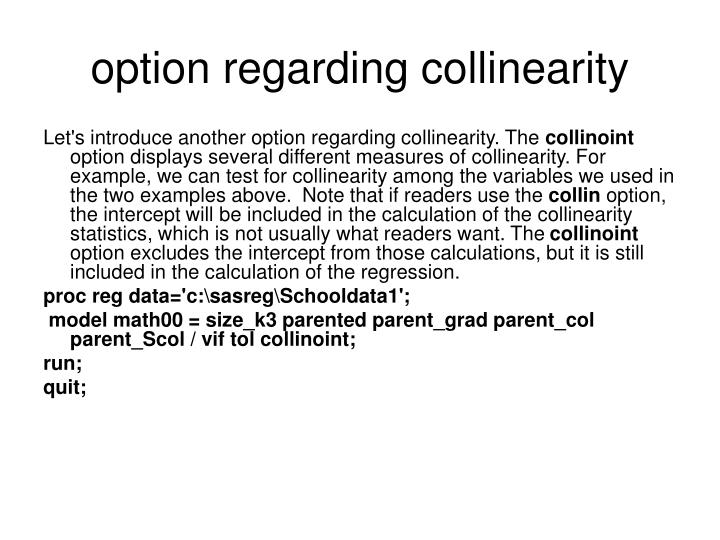 option regarding collinearity