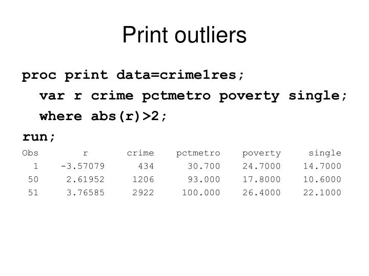 Print outliers