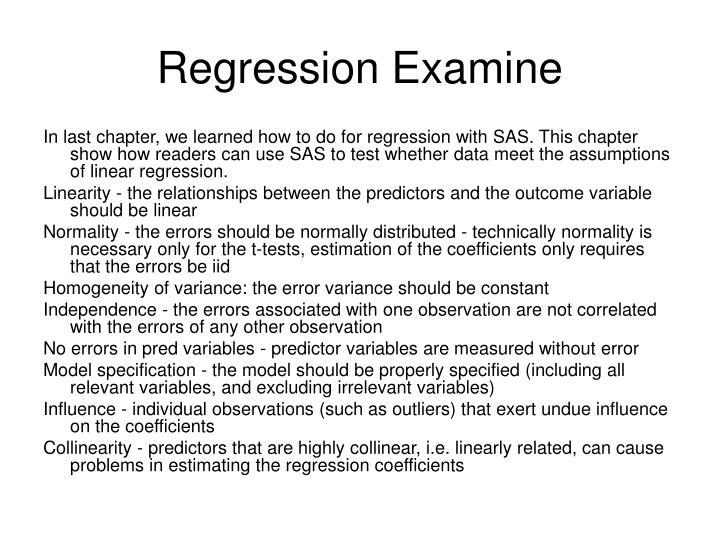 Regression Examine