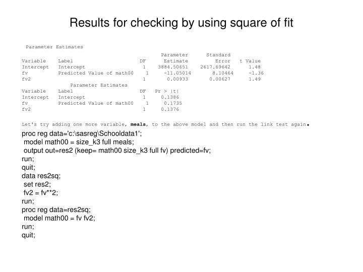 Results for checking by using square of fit