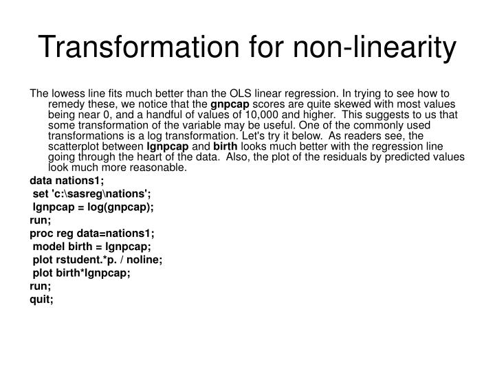 Transformation for non-linearity