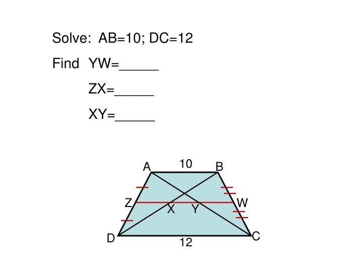 Solve:  AB=10; DC=12