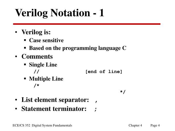 Verilog Notation - 1