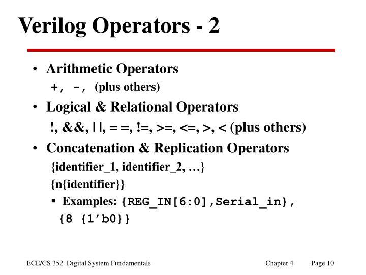 Verilog Operators - 2