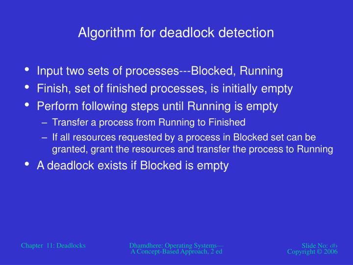 Algorithm for deadlock detection