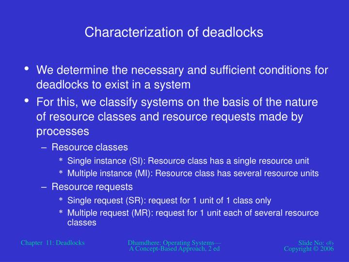 Characterization of deadlocks