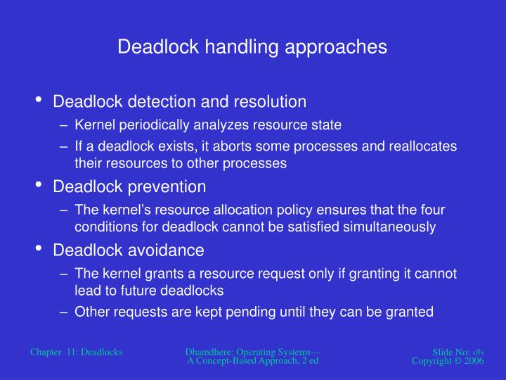 Deadlock handling approaches