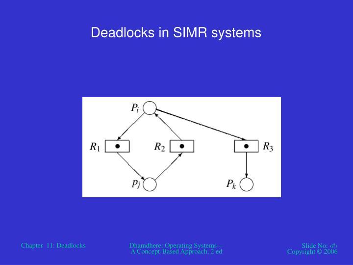 Deadlocks in SIMR systems
