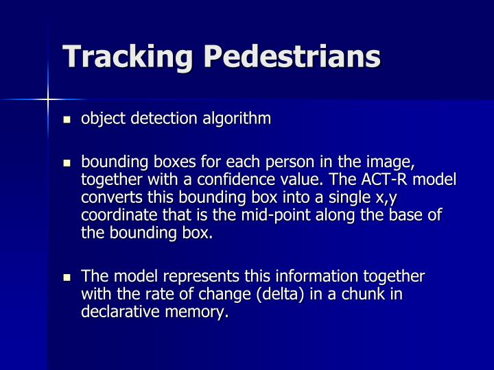 Tracking Pedestrians