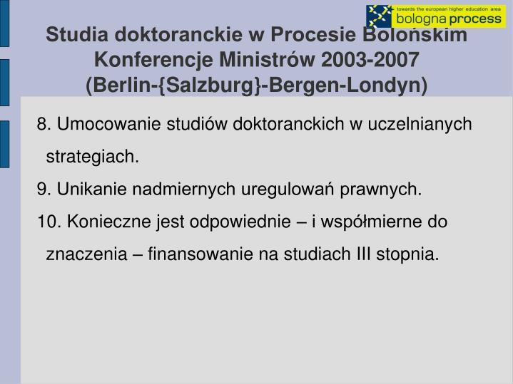 Studia doktoranckie w Procesie Bolońskim