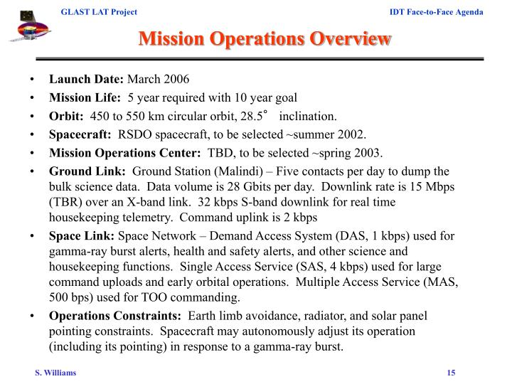 Mission Operations Overview