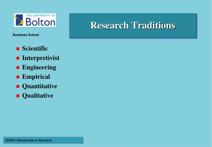 Research Traditions