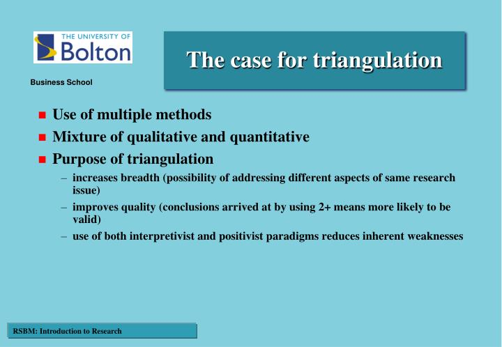 The case for triangulation
