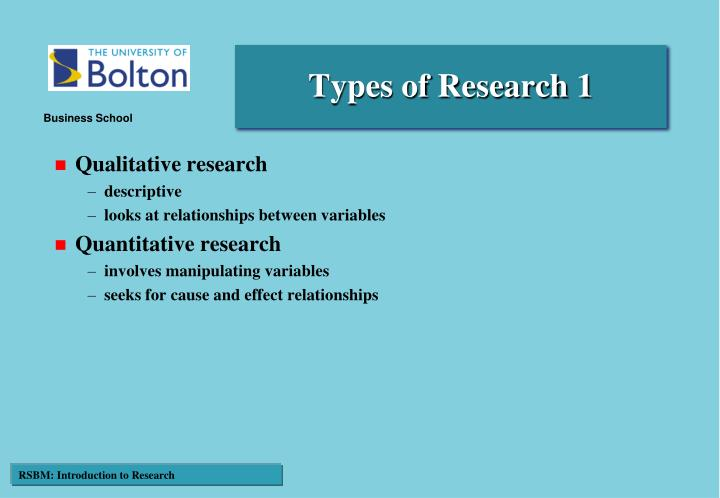 Types of Research 1