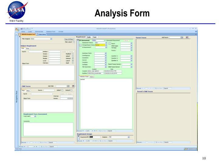 Analysis Form