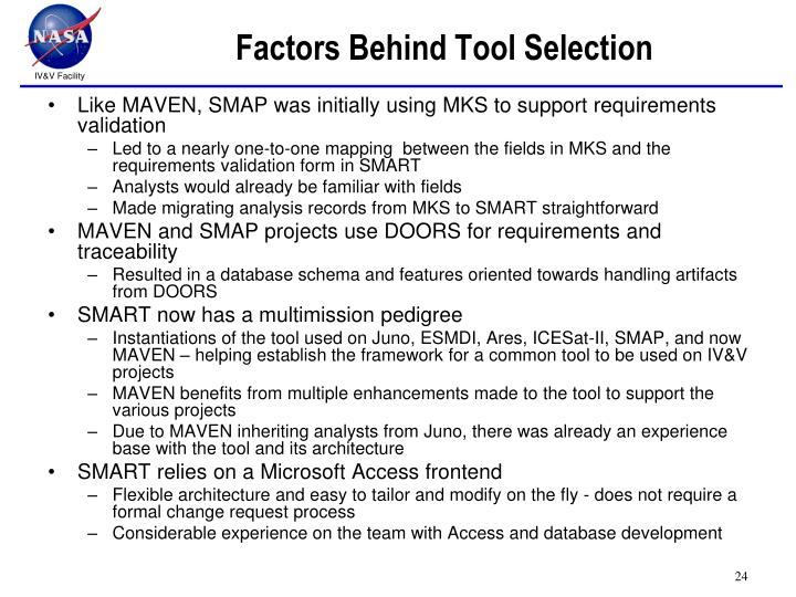Factors Behind Tool Selection