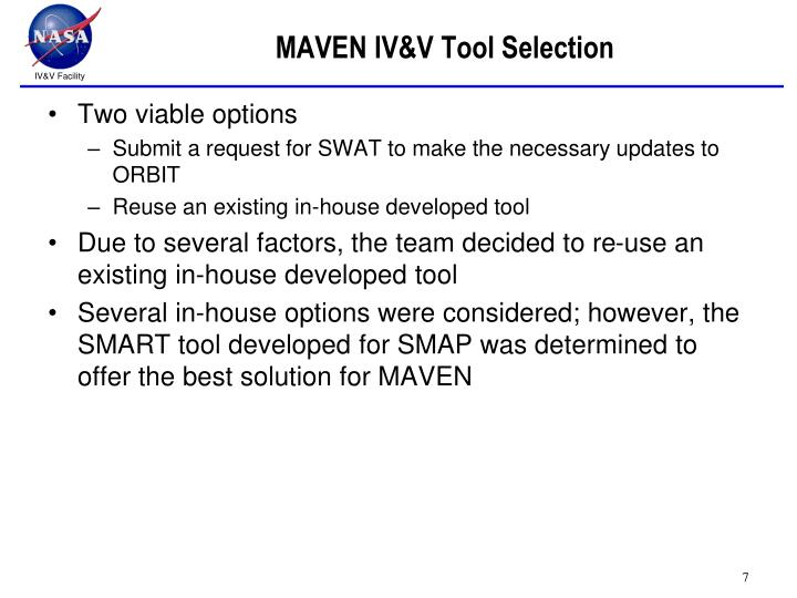 MAVEN IV&V Tool Selection