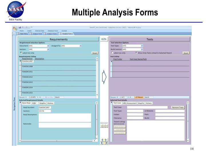 Multiple Analysis Forms