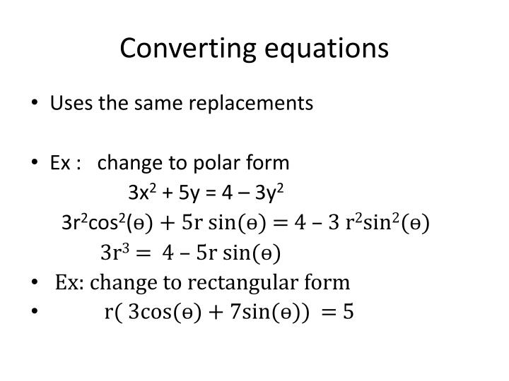 Converting equations