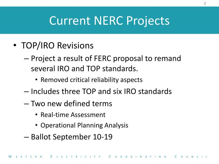 Current nerc projects