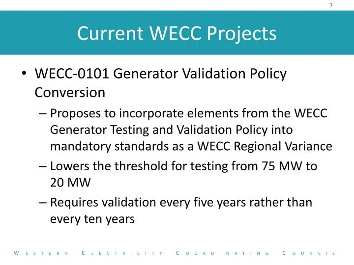 WECC-0101 Generator Validation Policy Conversion