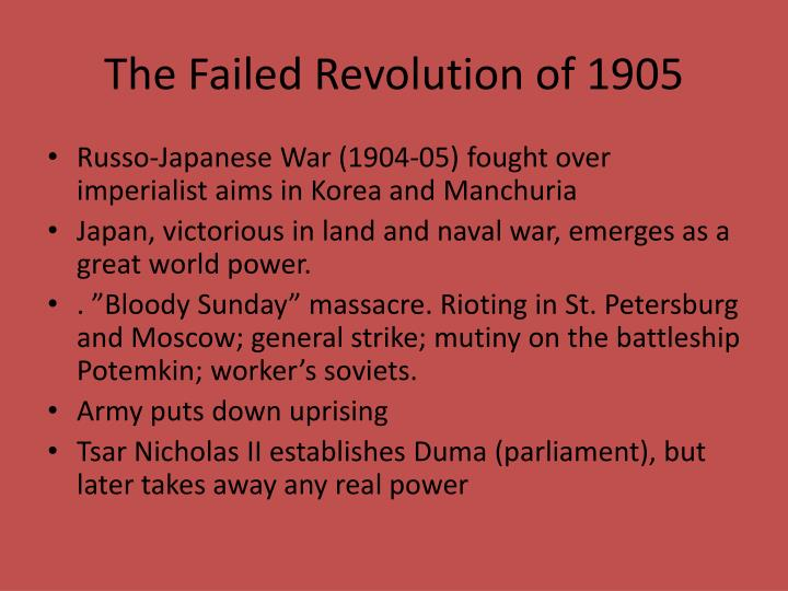 The Failed Revolution of 1905
