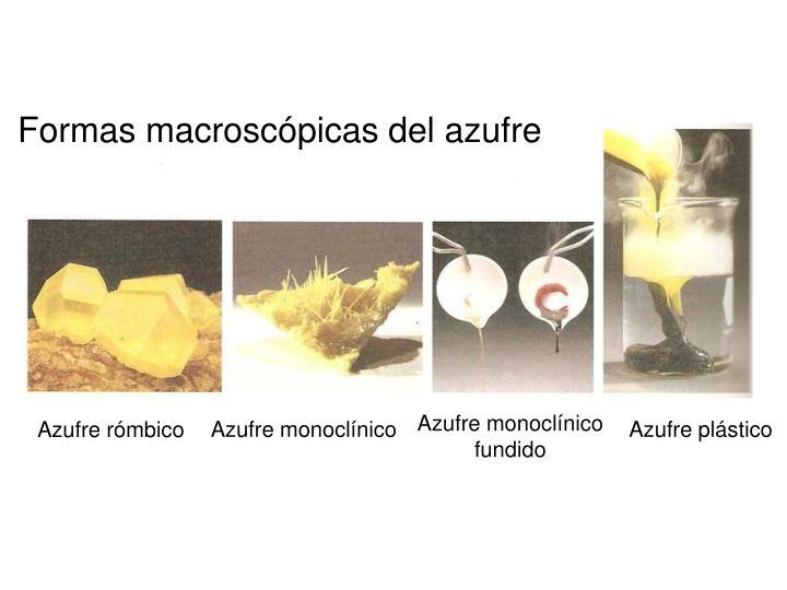 Formas macroscópicas del azufre